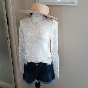 Tops - Lace sheer top with scalloped edges